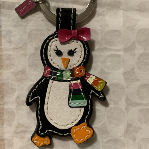 Coach Leather Penguin Keychain - NWOT